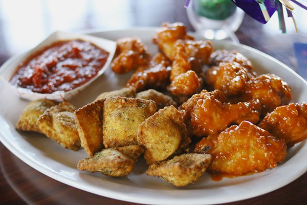 Toasted ravioli and bone-in hot wings will keep you filled out for drinking. - CHELSEA NEULING