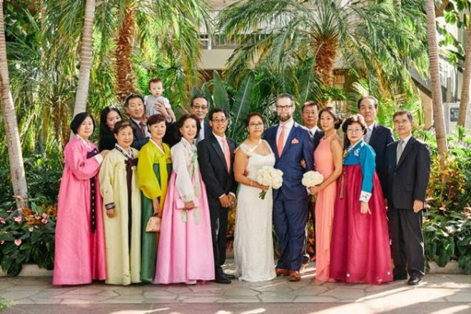 Guests at the St. Louis wedding of Irene Wan and Michael Sweeney had their traditional Korean gowns stolen on Sunday after the ceremony. - IMAGE VIA OLDANI PHOTOGRAPHY