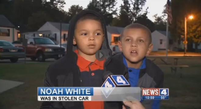 Noah White, 5, was interviewed by Alexis Zotos of KMOV last night. - SCREENGRAB VIA