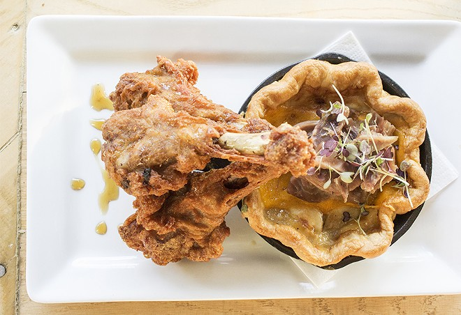 """""""Duck & Pie"""": Such & Such Farms' barrel-aged maple syrup glazed duck confit legs, pulled duck confit and savory apple pie. - MABEL SUEN"""