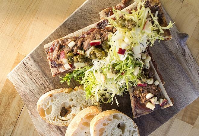 """Short Rib & Bone Marrow"" with Medjool-date jam, frisee and Doublestar apple salad. - MABEL SUEN"