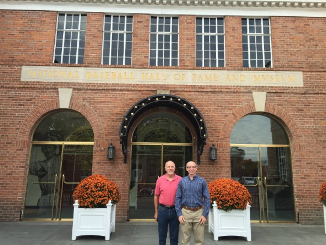 Bill Clevlen (right) with his dad, Rick, in front of the National Baseball Hall of Fame in Cooperstown, New York. - PHOTO COURTESY OF BILL CLEVLEN