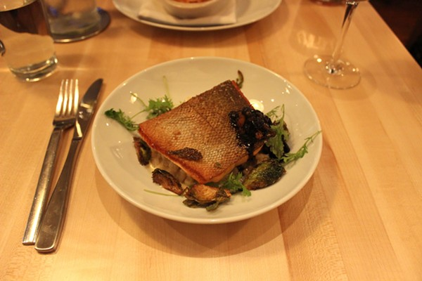 Steelhead trout with mushroom risotto. - PHOTO BY LAUREN MILFORD