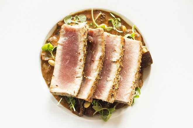 Seared tuna with smoked eggplant caponata. - MABEL SUEN