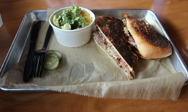 The Cubano sandwich and broccoli casserole, the seasonal vegetable of the day. - PHOTO BY LAUREN MILFORD