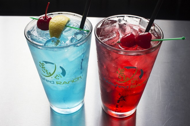 "The ""Bleed Blue"" and ""Cardinal Red"" cocktails. - MABEL SUEN"