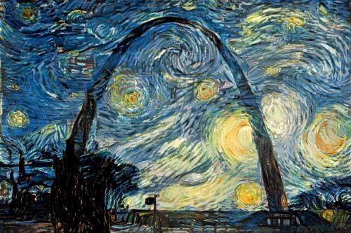 "The Gateway Arch, stylized via Van Gogh's ""Starry Night."""