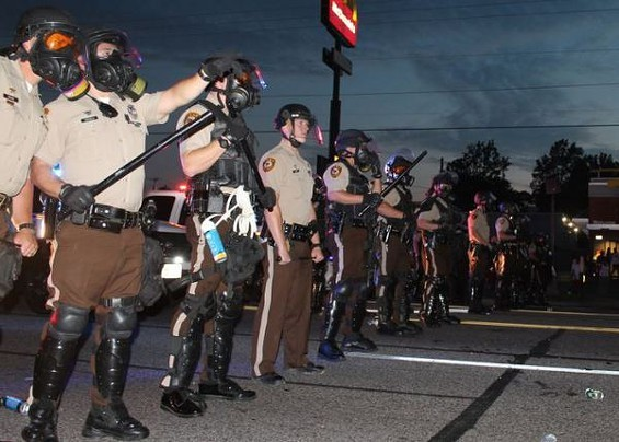 St. Louis County Police during last year's unrest in Ferguson. - PHOTO BY RAY DOWNS