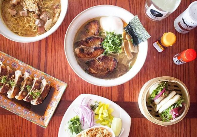 A selection of dishes from Ramen Tei: khao soi, tonkatsu ramen, gyoza and pork-belly steam buns. - PHOTO BY MABEL SUEN