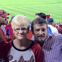 Chris Sanna was shot in September after celebrating the birthday of his mom, Candis Sanna, left, at a St. Louis Cardinals game. - IMAGE VIA FACEBOOK