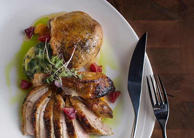 Roasted duck at the Restaurant at the Cheshire — one of the restaurants offering Thanksgiving dinner this year. - PHOTO BY JENNIFER SILVERBERG