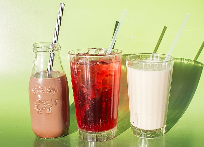 """The """"Malted Milk Ball,"""" """"Jamaica Fizz"""" and cashew milk with ginger-chai syrup. - MABEL SUEN"""