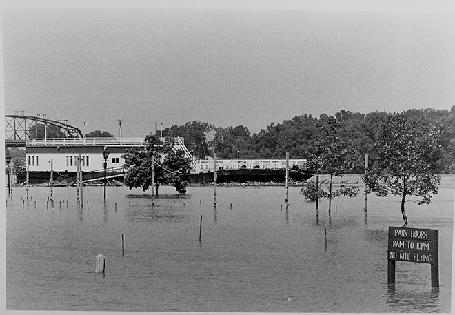 A park along the St. Charles riverfront — utterly submerged. - PHOTO BY BRIAN CHILSON