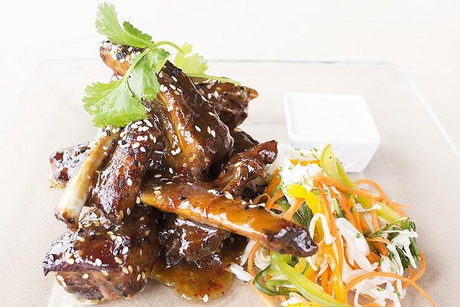 The glazed ribs appetizer. - MABEL SUEN