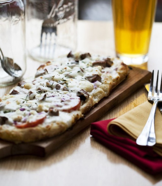 The Steakhouse Pizza at Crushed Red: on the menu. - PHOTO BY JENNIFER SILVERBERG