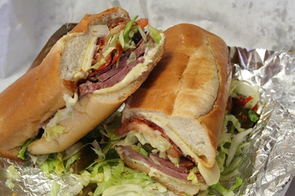 The final sandwich: The Hogfather at Gioia's Deli made of Hot Salami, Bacon and Hot Coppa. - JOHNNY FUGITT