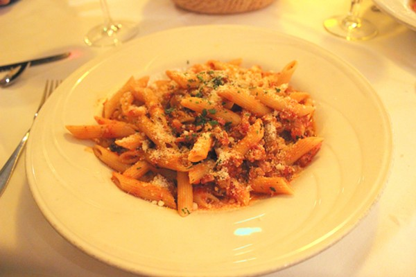 "Penne amatriciana, better known as the ""eviction notice"" according to some pregnant women. - PHOTO BY LAUREN MILFORD"