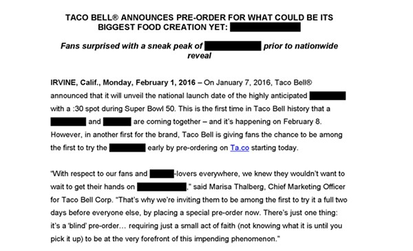 Yes, this is an actual Taco Bell press release.