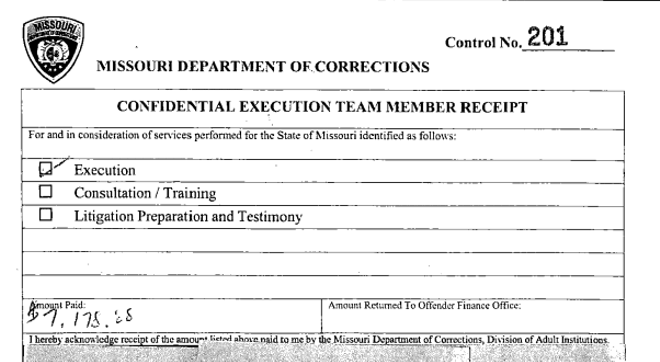 A receipt for a Confidential Execution Team shows $7,178.88 paid to an anonymous drug supplier.