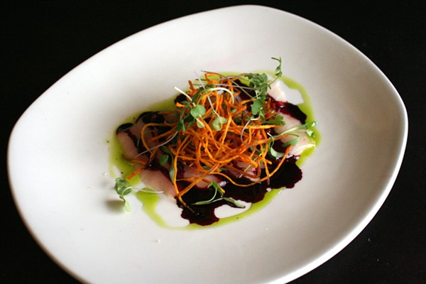 Kona kampachi with a beet, ginger, chili sauce - JOHNNY FUGITT