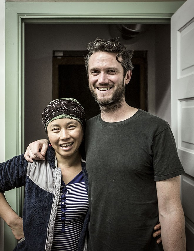 Pierce Powers and Lona Luo are raising Jane, 13, and Daniel, 3, as well as running Lona's Lil Eats. - PHOTO BY JENNIFER SILVERBERG