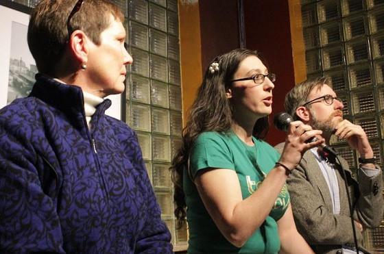 Alderwoman Megan Ellyia Green, center, at a political debate. - PHOTO BY DANNY WICENTOWSKI