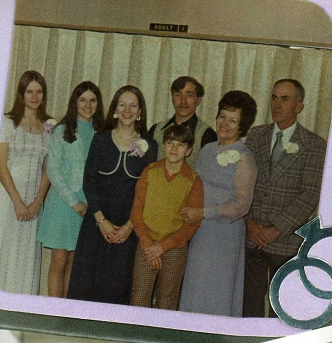 The Spencer family, from left to right: Judy, Betty, Jeanne, Paul (below), Glen, Mildred and Kenneth. - COURTESY OF THE SPENCERS