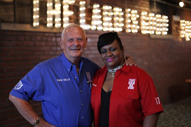 Mike Mills with Glori McCollum - COURTESY OF 17TH ST. BARBECUE