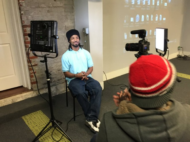 Reggie, a Continuity student, gets interviewed by Anthony Miller, a fellow student at Mission Video. - PHOTO COURTESY OF JORDAN SCHNEIDER
