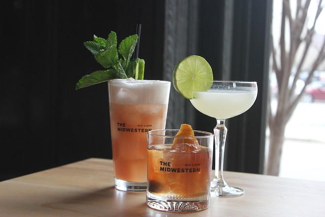 """Tony Saputo's cocktails include a house old-fashioned, center, along with creative concoctions like """"the Drinkenstein,"""" right, and mocktails like the """"Golden Needles."""" - SARAH FENSKE"""