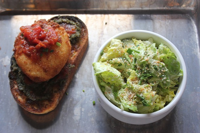 A fried burrata toast, served with a petite gem salad for a riff on the classic lunch combo. - SARAH FENSKE