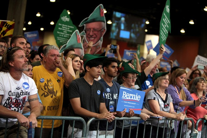 Bernie Sanders supporters cheer their candidate in Phoenix. - PHOTO COURTESY OF FLICKR/GAGE SKIDMORE