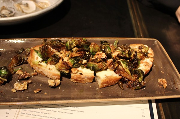 Brussels sprouts toast. - PHOTO BY LAUREN MILFORD