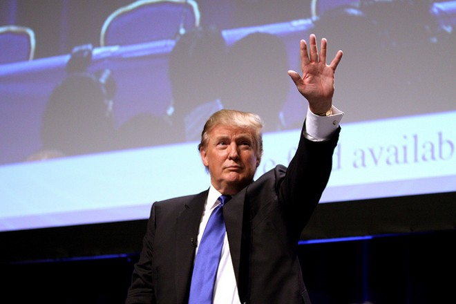 Donald Trump in 2011, striking a familiar pose. - PHOTO COURTESY OF FLICKR/GAGE SKIDMORE