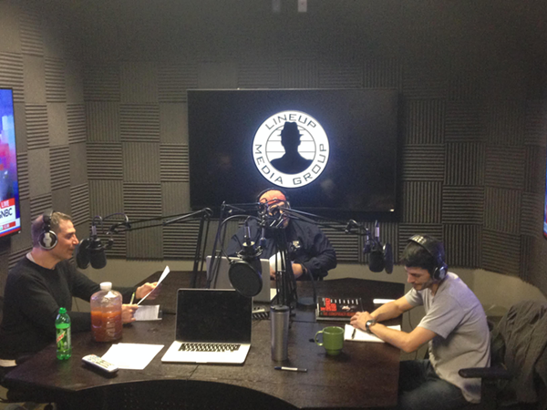 Armand, The Ochoman, and Nick (left to right) recording their show in Lineup Media Group's studios, which Lakin says are state of the art. - COURTESY OF LINEUP MEDIA GROUP