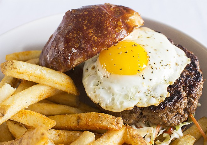 """The """"Wagyu Bulgogi Burger"""" brilliantly combines the restaurant's two cuisines. - PHOTO BY MABEL SUEN"""