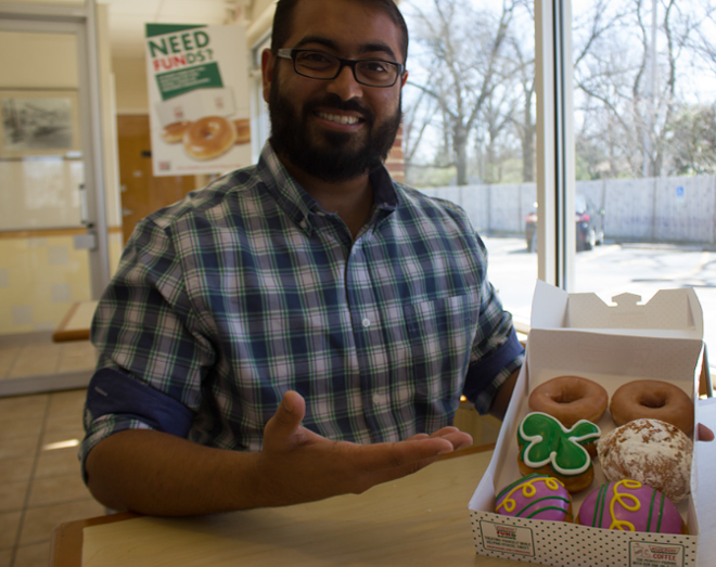 Faizan Syed, director of CAIR-St. Louis, chose to meet Trump supporters with doughnuts, not protests. - PHOTO BY DANNY WICENTOWSKI