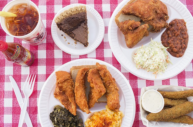 A selection of dishes from Gus's, including the chocolate chess pie. - PHOTO BY MABEL SUEN