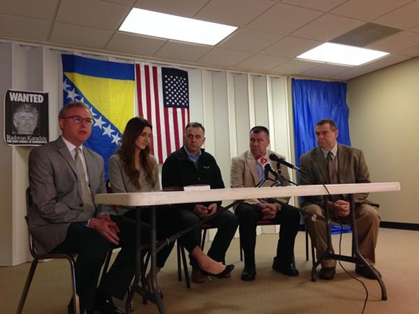 Patrick McCarthy, Dina Strikovic, Hidajet Suljic, Sadik Kukic and Ben Moore discuss the case against 'The Butcher of Bosnia.' - PHOTO BY DOYLE MURPHY