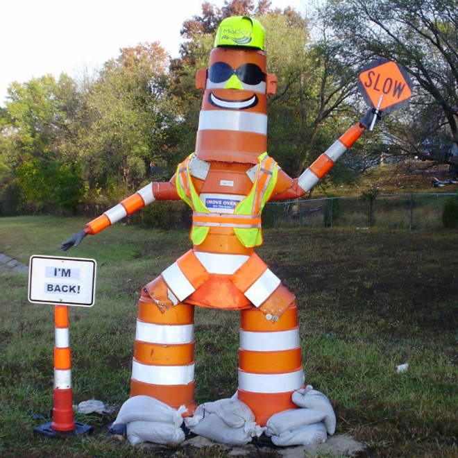 Barrel Bob, the creepy road safety mascot, was found in a ditch nearly two weeks after disappearing from Jefferson County. - MISSOURI DEPARTMENT OF TRANSPORTATION