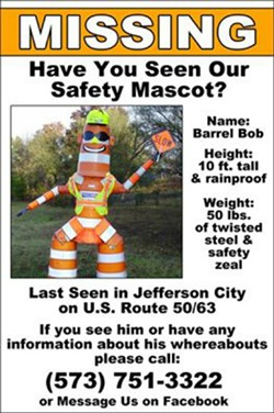 The state launched a campaign to find Barrel Bob after he disappeared on March 19. - MISSOURI DEPARTMENT OF TRANSPORTATION