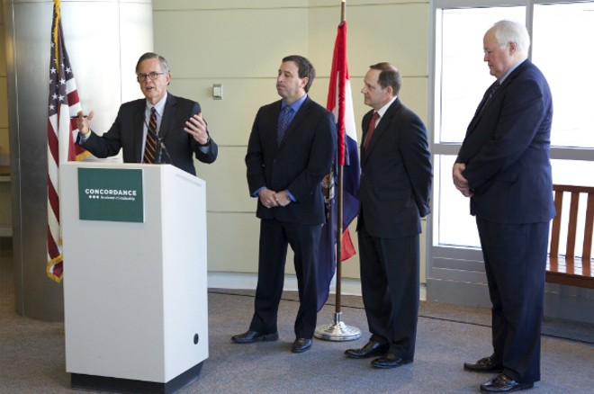 Concordance CEO and President Danny Ludeman with St. Louis County Executive Steve Stenger, St. Louis Mayor Francis Slay and St. Charles County Executive Steve Elhmann. - IMAGE VIA CONCORDANCE ACADEMY