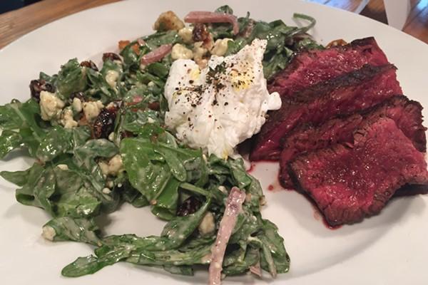 Half & Half's new steak salad: arugula with a rare steak on the side. - PHOTO BY KEVIN KORINEK