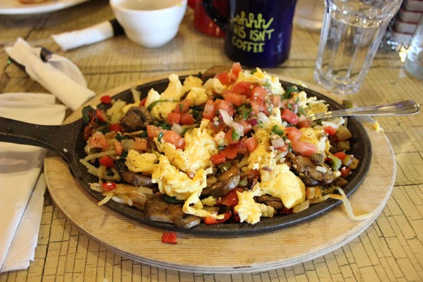 The loaded greens skillet at the Shack. - PHOTO BY LAUREN MILFORD