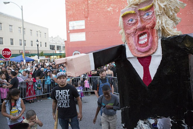 Last year's Donald Trump piñata. Trump is scary even in piñata form. - PHOTO COURTESY OF FRANCIS RODRIGUEZ