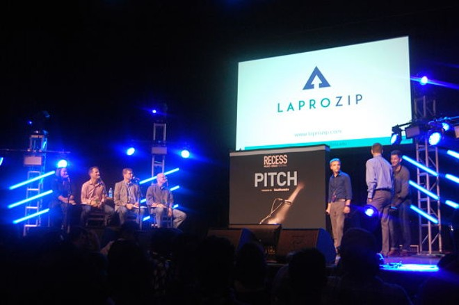 LaproZip's team pitches its business plan to judges and investors. - PHOTO BY HARLAN MCCARTHY