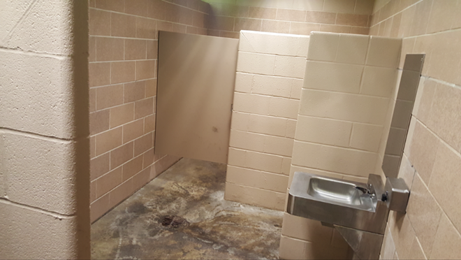 The interior of the men's room at the center of the Fox2 story. - PHOTO BY DANNY WICENTOWSKI