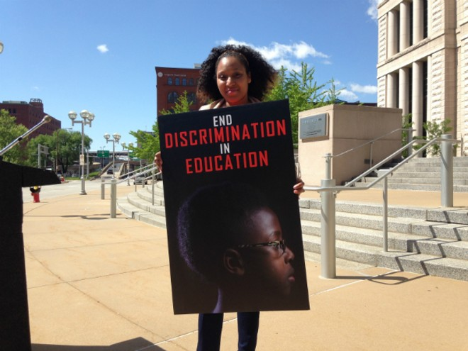 La'Shieka White is fighting desegregation rules that would prevent her son from enrolling in a magnet school in the City of St. Louis because he is black. - DOYLE MURPHY