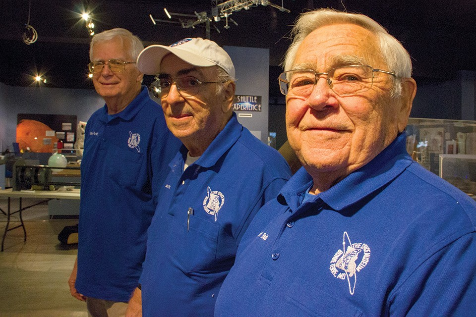"Members of ""Mac's Old Team"" (from left, Dean Purdy, Lou Mavros and Earl Robb) keep St. Louis' space legacy alive. - DANNY WICENTOWSKI"