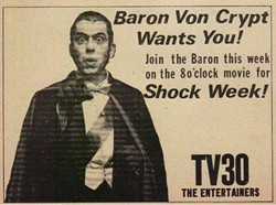 A TV Guide advertisement for Baron Von Crypt's KDNL show.